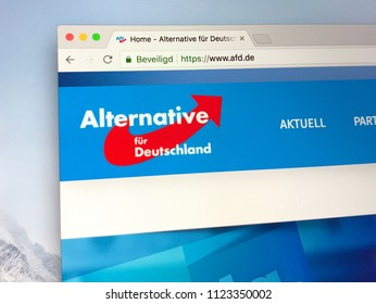 Berlin, Germany - June 29, 2018: Official website of German right-wing political party Alternative for Germany (German: Alternative für Deutschland, AfD)