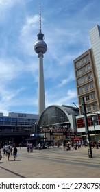 BERLIN, GERMANY - JUNE 29, 2018: A view of Alexanderplatz and the TV Tower in Berlin, Germany.