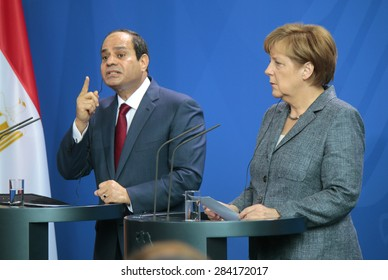 BERLIN, GERMANY - JUNE 3, 2015: Egyptian president Abdel Fattah el-Sisi and German Chancellor Angela Merkel at a press conference after a meeting in the Chanclery in Berlin.