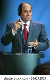 BERLIN, GERMANY - JUNE 3, 2015: Egyptian president Abdel Fattah el-Sisi at a press conference after a meeting with the German Chancellor in the Chanclery in Berlin.