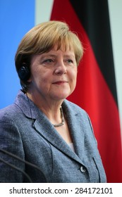 BERLIN, GERMANY - JUNE 3, 2015: German Chancellor Angela Merkel at a press conference after a meeting with the Egyptian President in the Federal Chanclery in Berlin.