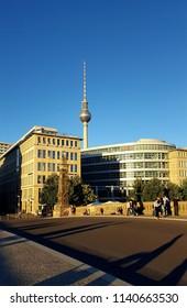 BERLIN, GERMANY - JUNE 30, 2018: A street view of the Berlin TV Tower.