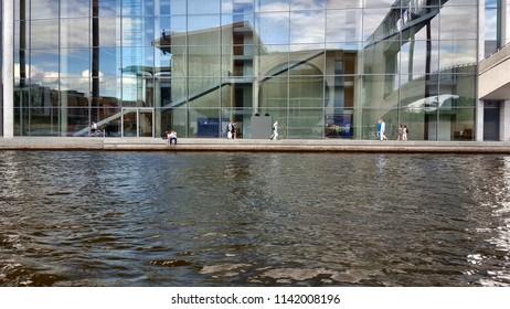 BERLIN, GERMANY - JUNE 30, 2018: Spree River banks in Berlin, Germany.