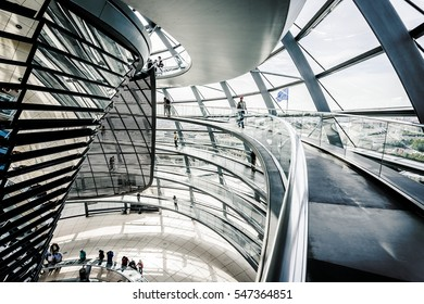 BERLIN, GERMANY - JUNE 30: Inner view of the dome of the Reichstag in Berlin Mitte, Germany, Europe jun 30 2016