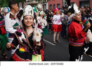 Berlin, Germany - June 4, 2017: Unidentified dressed up people at Carnival of Cultures. Karneval der Kulturen is a multicultural festival in Kreuzberg, Berlin, celebrated annually around Pentecost