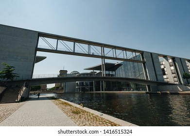Berlin, Germany - JUNE 4, 2019: Government district. Spree river in Berlin passing between Paul-Lobe-Haus and Marie-Elisabeth-Lüders-Haus buildings.