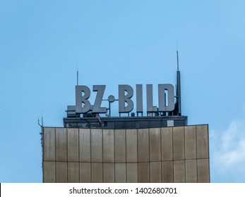 Berlin, Germany - June 5, 2018: B.Z. - Bild signage on the top of a building, German tabloid newspapers, published by Axel Springer AG