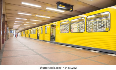Berlin, Germany - June 6, 2016: Berlin Subway constitutes, together with the S-Bahn city rail service in the German capital extended to 482 km.
