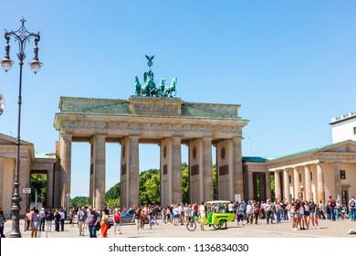 BERLIN, GERMANY - June 6, 2018: Brandenburger Tor is the most iconic landmark in Berlin.