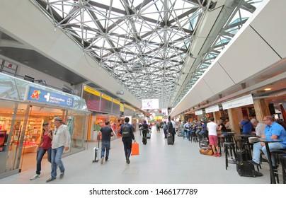 BERLIN GERMANY - JUNE 6, 2019: Unidentified people travel at Berlin Tegel airport Berlin Germany