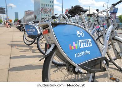 BERLIN GERMANY - JUNE 7, 2019: Deezer bicycle share Berlin Germany