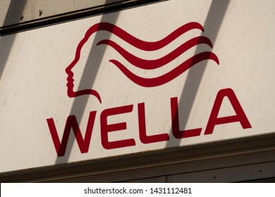 Berlin, Germany - June 8, 2019: Sign of Wella AG, major German hair care company specialized in hair care, styling and colorants sold to individuals as well as hairdressers sold to Coty, Inc. in 2015