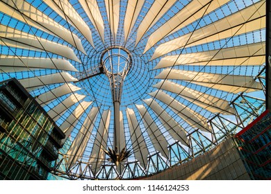 BERLIN, GERMANY - June 9, 2018: Spectacular roof of the Sony Center, a Sony-sponsored building complex located at the Potsdamer Platz in Berlin, Germany.