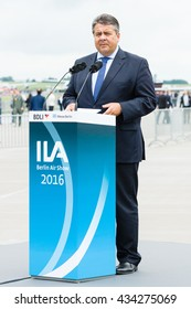 BERLIN, GERMANY - JUNI 01, 2016: Speech by Sigmar Gabriel, Minister for Economic Affairs and Energy. Exhibition ILA Berlin Air Show 2016