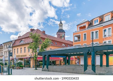 Berlin, Germany - Mai 23, 2021: Historic centre and old town of the Spandau borough in the western suburbs with the subway station Altstadt Spandau and St. Nicholas Church