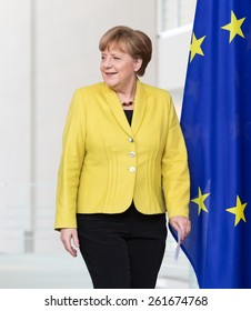 BERLIN, GERMANY - Mar. 16, 2015: Chancellor of the Federal Republic of Germany Angela Merkel before a joint briefing with President of Ukraine Petro Poroshenko in Berlin