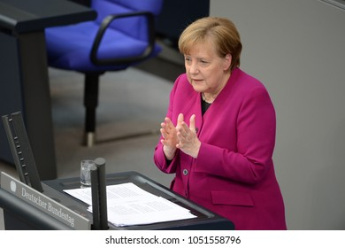 BERLIN, GERMANY,  - Mar 21, 2018: German chancellor Dr. Angela Merkel at the Bundestag