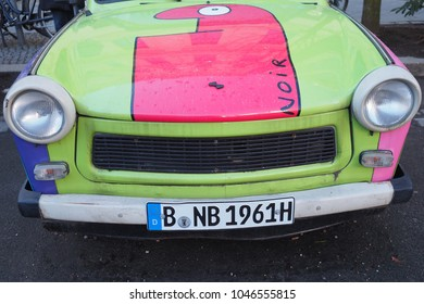Berlin, Germany : March 01, 2017: detail of a Trabant , the typical DDR ( East Gemany) car with drawing on it