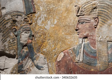 BERLIN, GERMANY - MARCH 03, 2013: Part of relief of Pharaoh Seti I and Osiris from a pillar from the tomb in the Egyptian Museum of Berlin. The collection is part of the Neues Museum