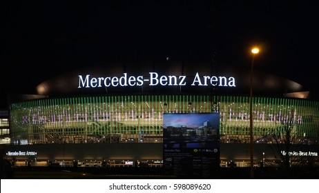 BERLIN, GERMANY - MARCH 10, 2017: Mercedes Benz Area at night