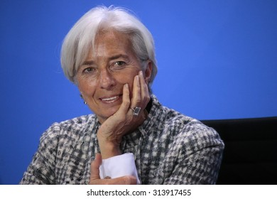 BERLIN, GERMANY - MARCH 11, 2015: the Managing Director of the International Monetary Fund (IMF), Christine Lagarde at a press conference after a meeting in the Chanclery, Berlin.