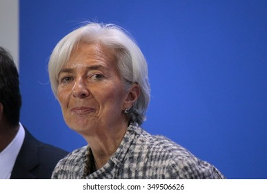 BERLIN, GERMANY - MARCH 11, 2015: Managing Director of the International Monetary Fund (IMF), Christine Lagarde at a press conference after a meeting in the Chanclery, Berlin.