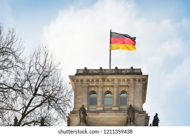 BERLIN, GERMANY- March 11, 2018 : German flag in Berlin, Germany.
