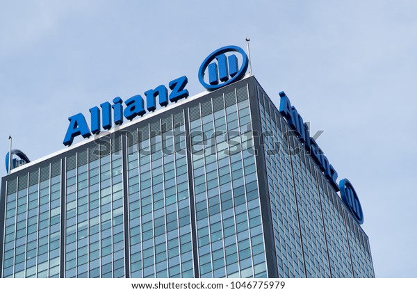 Berlin, Germany - March 11, 2018: Financial and insurance group Allianz logo. Founded in 1890 in Berlin, Allianz SE is now headquartered in Munich and is the largest German insurance company