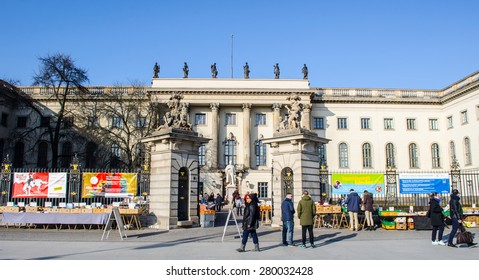BERLIN, GERMANY, MARCH 12, 2015: people are walking in front of the humboldt university in berlin.