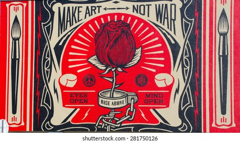 BERLIN, GERMANY, MARCH 12, 2015:make art not war graphitti painting in berlin.