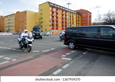 Berlin, Germany - March 12, 2019: Policeman on motorcycles escorting cars from Belgium embassy