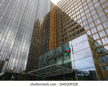 Berlin, Germany - March 13, 2018: Exterior view of the Axel Springer SE, the largest digital publishing house in Europe, with numerous multimedia news brands, such as Bild, Die Welt, and Fakt