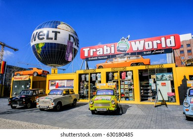 Berlin, Germany - March 18, 2017: Berlin trabi world museum close to Checkpoint Charlie. Iconic East German car and at Trabi World you can drive a trabant along the wall sights.