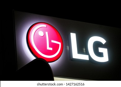 Berlin, Germany - March 18, 2019: LG logo. South Korean multinational electronics company, LG Electronics comprises 4 units: home entertainment and appliance, mobile communications, vehicle components
