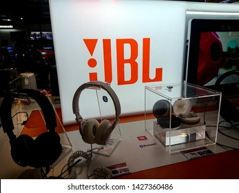 Berlin, Germany - March 18, 2019: JBL store interior. JBL is an American company that manufactures loudspeakers, owned by Harman International Industries, a subsidiary of South Korean company Samsung