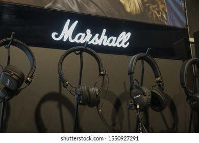 Berlin, Germany - March 18, 2019: Marshall Headphones. Marshall is an iconic company, known for its amp and speaker products that have designer looks