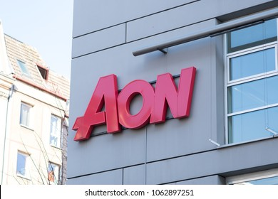 Berlin, Germany - March 19, 2018: Aon signage. Aon is market leader in insurance and reinsurance brokerage, risk management and employee benefits