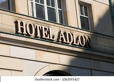 Berlin, Germany - March 19, 2018: Hotel Adlon Kempinski signage. The Hotel Adlon Kempinski Berlin is a luxury hotel in Berlin, located on Unter den Linden, the main boulevard in the Mitte district