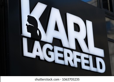 Berlin, Germany - March 19, 2018:  Karl Lagerfeld logo. Karl Otto Lagerfeld is a German creative director, artist and photographer, head creative director of the fashion house Chanel and Fendi