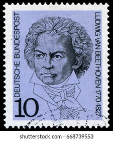 Berlin, Germany - March 20, 1970: Ludwig van Beethoven(1770-1827), most famous and influential German composer and pianist in the Western art music. Stamp issued in 1970 by German Post.