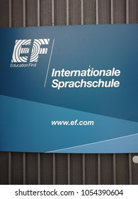 Berlin, Germany - March 20, 2018: EF Internationale Sprachschule sign. EF Education First is an international education company that specializes in language training, educational travel and exchange