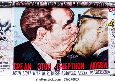 BERLIN, GERMANY - MARCH 20: Berlin Wall graffiti seen on March 22, 2015, Berlin, East Side Gallery. It's a 1.3 km long part of original Berlin Wall which collapsed in 1989