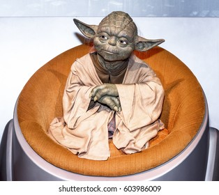 Berlin, Germany - March 2017: Master Yoda wax figure in Madame Tussauds museum