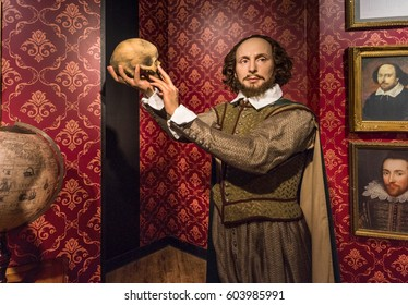 Berlin, Germany - March 2017: Shakespeare wax figure in Madame Tussauds museum