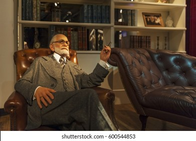 Berlin, Germany - March 2017: Sigmund Freud wax figure in Madame Tussauds city museum