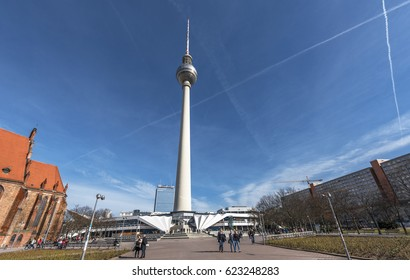 Berlin, Germany - March 2017: View on the city TV tower on a sunny day