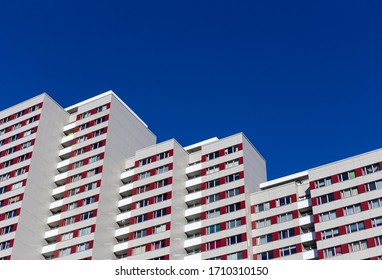 Berlin, Germany - March 21, 2020. High-rise building - socialist urban development of the German Democratic Republic - from the 1970s in East Berlin