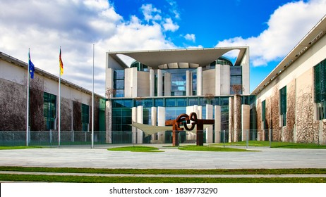 Berlin, Germany - March 21, 2020 - The German Federal Chancellery in the government district of Berlin (Bundeskanzleramt)