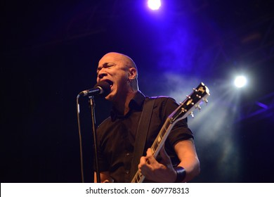 BERLIN, GERMANY - MARCH 22 2017: Canadian rock band Danko Jones with its vocalist Danko playing a show at Huxleys Neue Welt in Berlin, Germany