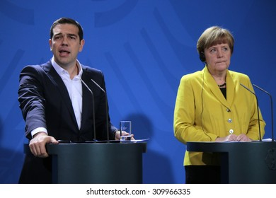 BERLIN, GERMANY - MARCH 23, 2015: Greek Prime Minister Alexis Tsipras, German Chancellor Angela Merkel - meeting in the Chanclery in Berlin.